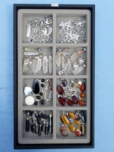 Pendant tray Silver Charms and Stone $15