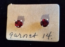Load image into Gallery viewer, Garnet Earring Studs