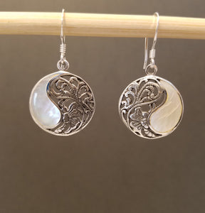Silver & Mother of Pearl Coin Earring