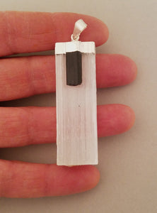 Selenite and black tourmaline pendant