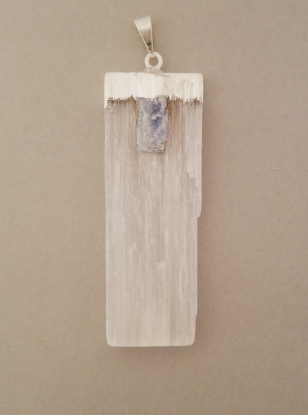 Selenite pendant and Kyanite