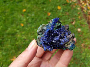 Azurite Cluster with Malachite