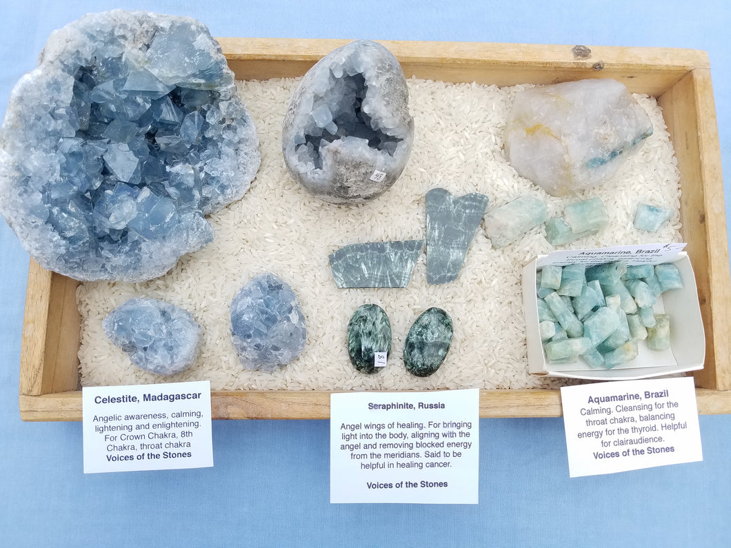 Celestite, Aquamarine, Seraphinite
