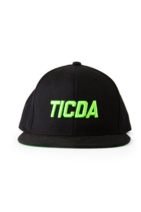 GREEN ON BLACK TICDA SNAPBACK