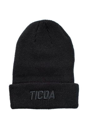 TICDA BLACK ON BLACK KNIT CUFFED BEANIE