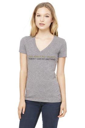 HEBREW - TODAY I CAN DO ANYTHING V NECK TRIBLEND TEE