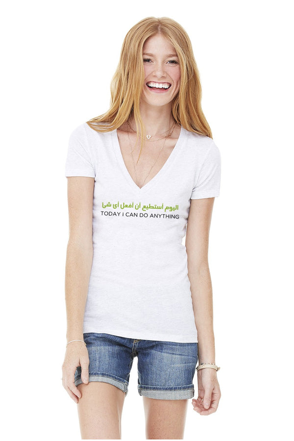 ARABIC - TODAY I CAN DO ANYTHING V NECK TRIBLEND TEE