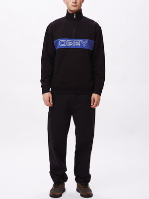 court zip mock black multi | OBEY Clothing