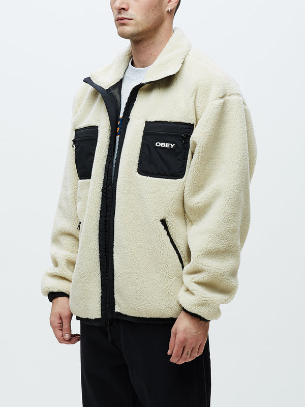 out there sherpa jacket natural | OBEY Clothing
