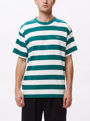 ideals organic wide stripe tee eucalyptus multi | OBEY Clothing
