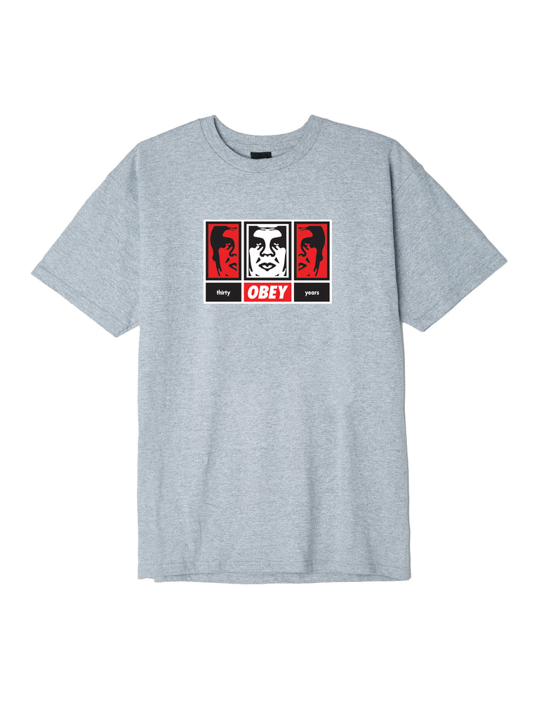 obey 3 faces 30 years heather grey | OBEY Clothing