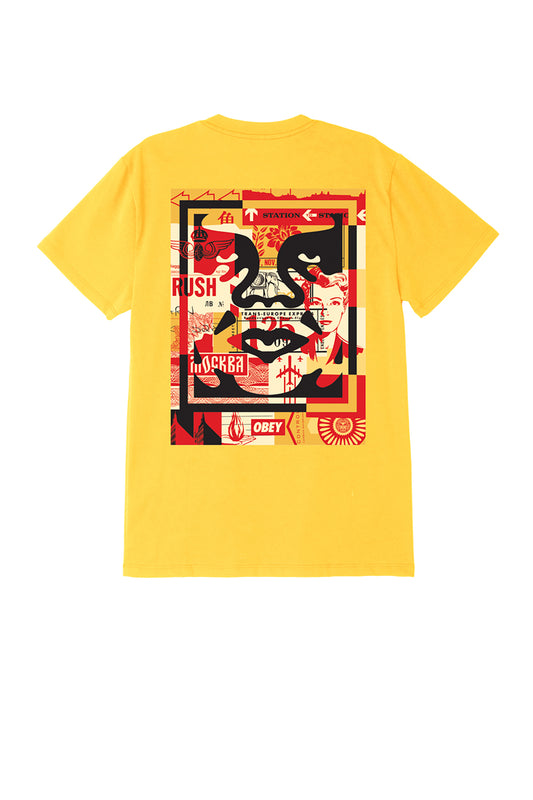 obey 3 face collage tee yellow | OBEY Clothing