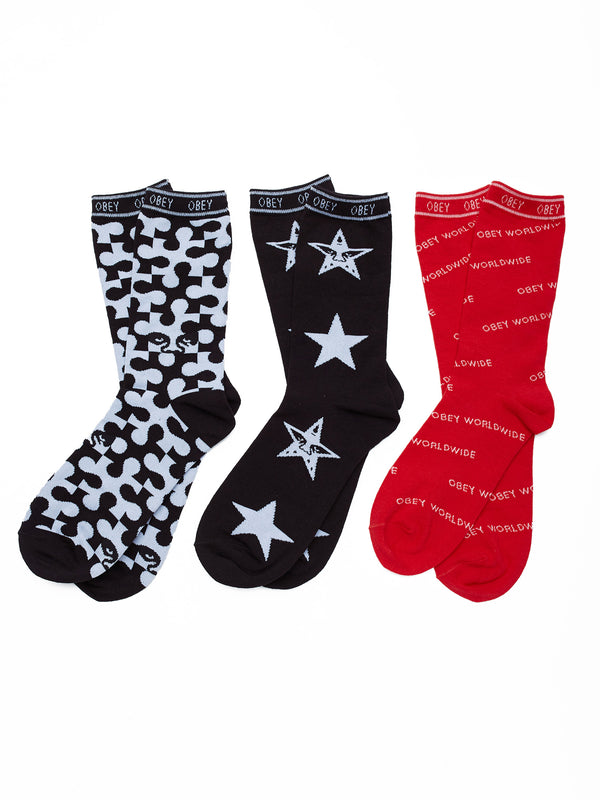 infinity sock 3pack multi | OBEY Clothing
