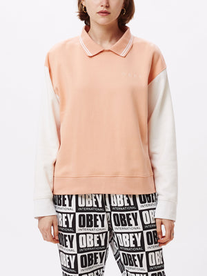 pearl fleece polo coral / bone | OBEY Clothing