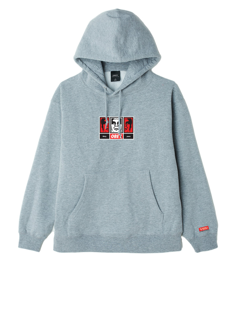 obey 3 faces 30 years grey heather | OBEY Clothing