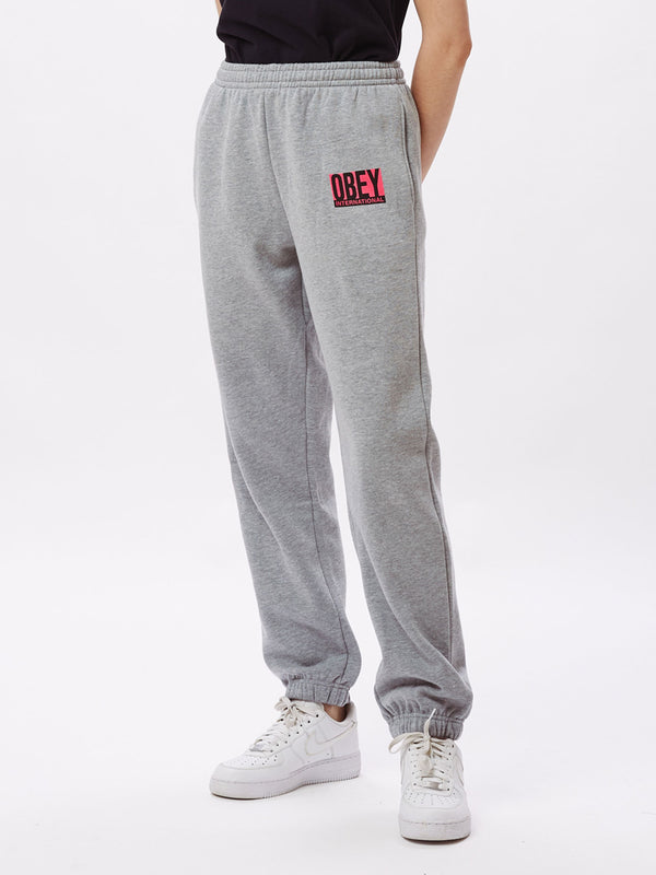 obey international block sweat grey heather / pink | OBEY Clothing