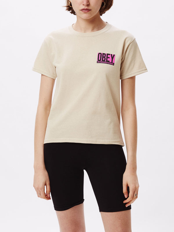 obey international block tee sand | OBEY Clothing