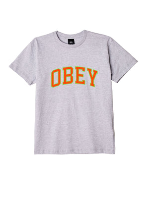obey academic tee heather grey / orange | OBEY Clothing