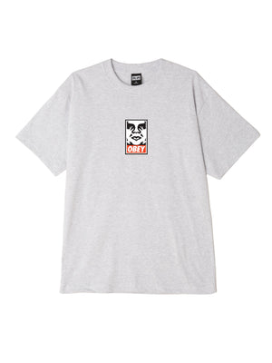 obey icon face box tee heather grey | OBEY Clothing