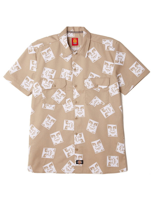 oby3 ws576 work shirt khaki | OBEY Clothing