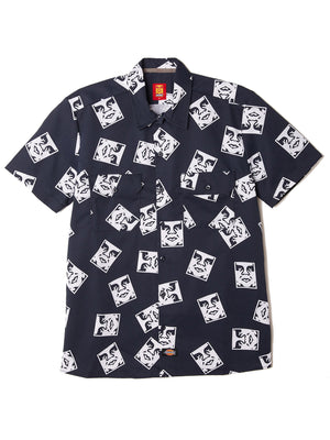 oby3 ws576 work shirt dark navy | OBEY Clothing
