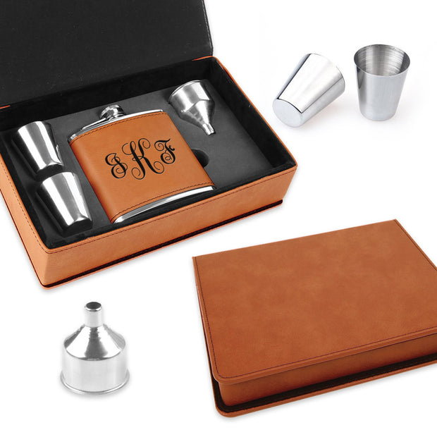 Personalized Leatherette Flask Set - Awards California