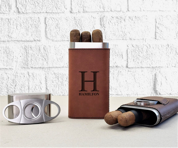 Personalized Leatherette Cigar Case - Awards California