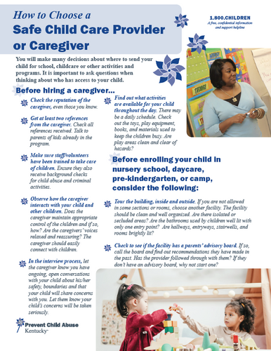 How to Choose a Safe Child Care Provider or Caregiver (Bundle of 25)