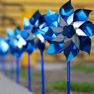 Blue and Silver Pinwheels (Box of 60)
