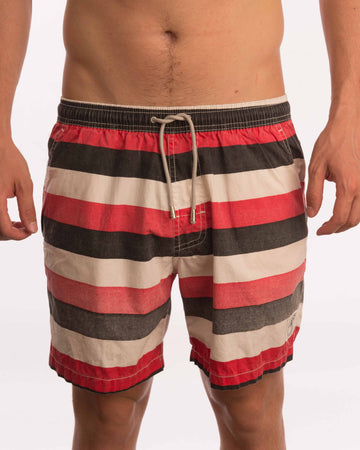 Triple Stripe Cotton Beach Short - Bistro StTropez