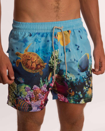 Coral Turtle Board Shorts