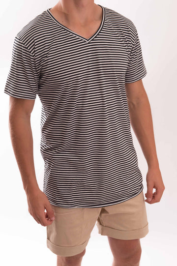 V-Neck Thin Stripe T-Shirt - Bistro StTropez