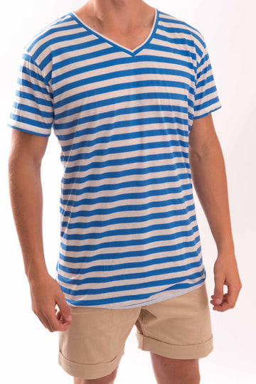 V-Neck Medium Stripe T-Shirt - Bistro StTropez