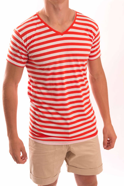 V-Neck Medium Stripe T-Shirt