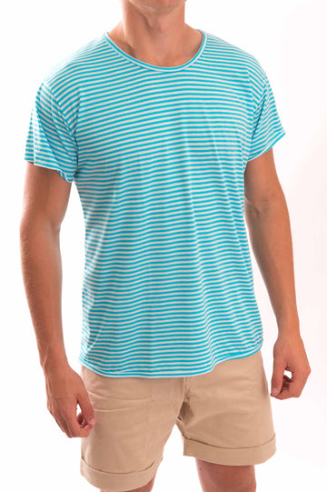 Round Neck Thin Stripe T-Shirt - Bistro StTropez