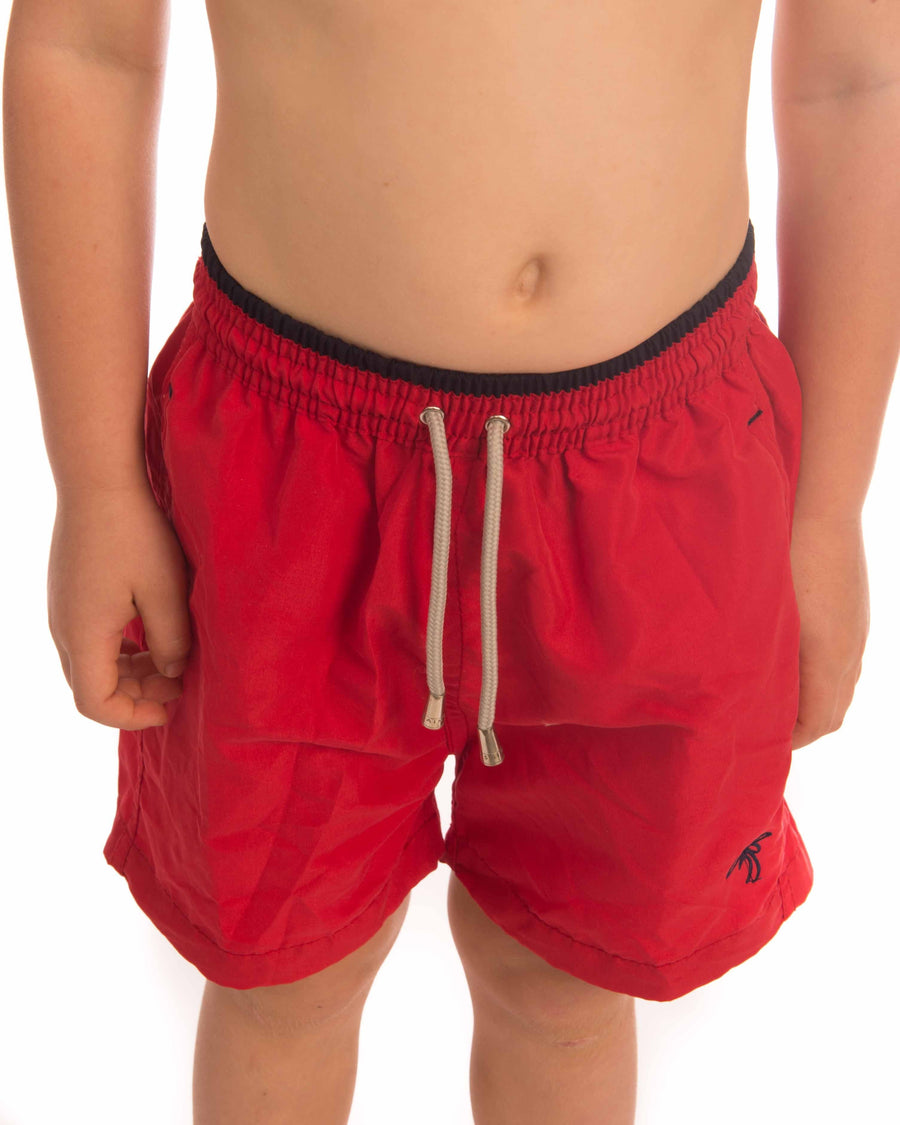 Kids Plain Boardshort With Logo - Bistro StTropez