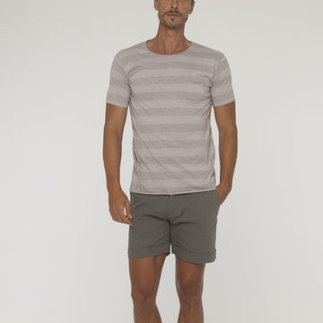 Stripe Overlock Tee With Pocket - Bistro StTropez