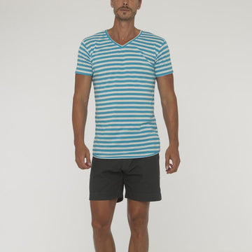 Stripe V Neck No Pocket - Bistro StTropez