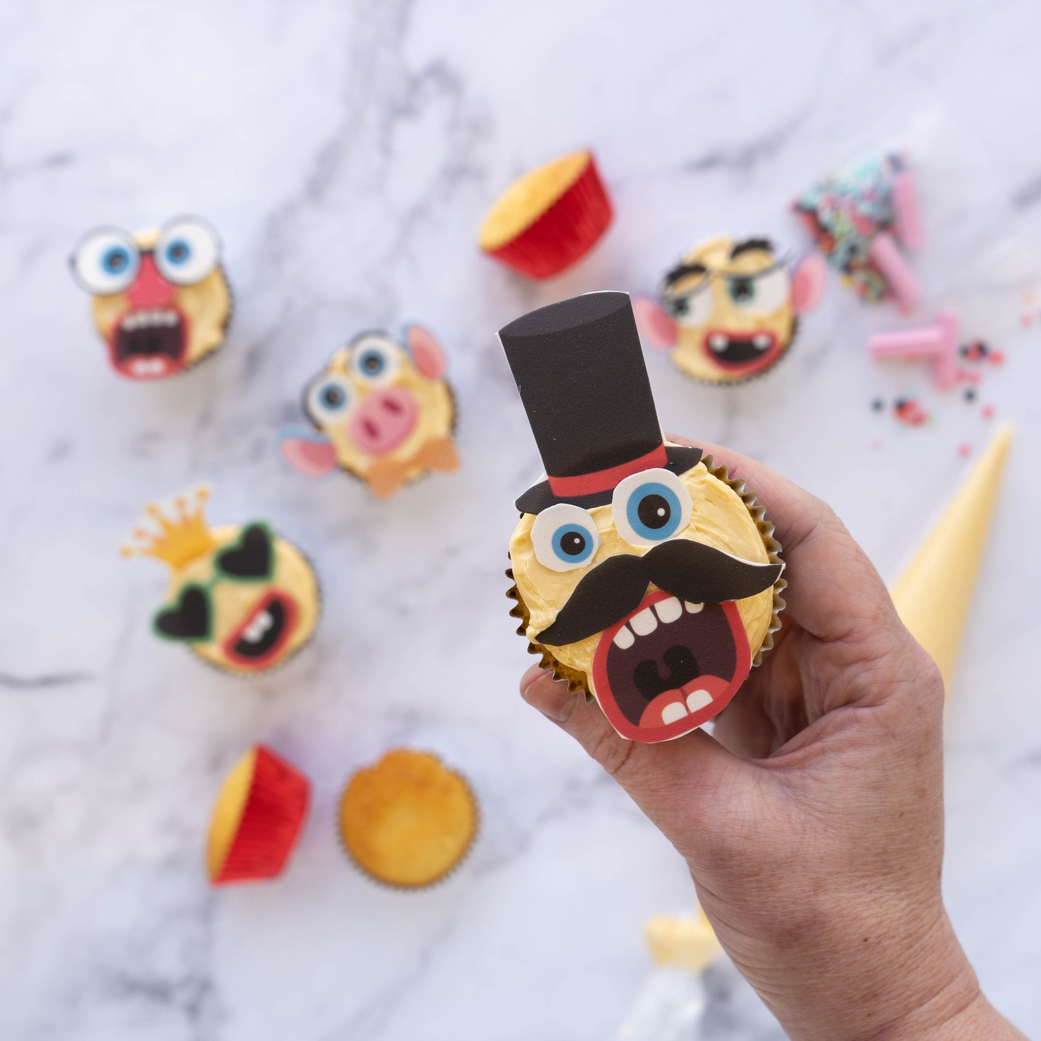 Bake your own funny face cupcakes