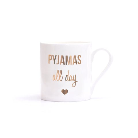 "Tasse ""Pyjamas all day"" gold von Eulenschnitt"