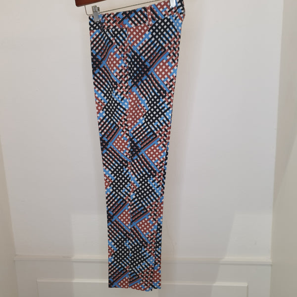 Blue/Black & Tan Abstract Trousers
