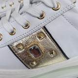 Willow White Leather Gold Sparkle Zip Detail Runner