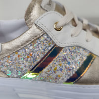 lily Gold Platform Runner with Multi Sparkle Detail