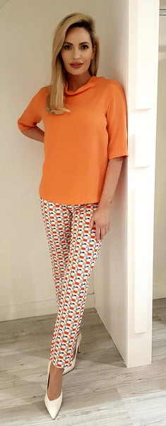 Orange and Cream  & blue print Trousers