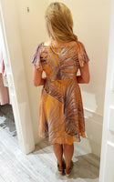 Gold & Taupe Print Dress