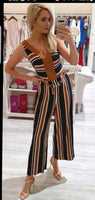Blk/tan Stripe Jumpsuit