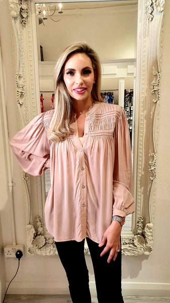 Dusty Rose High Neck Blouse