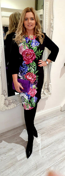 Black Purple/Pink Flower Dress