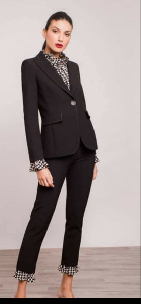 Black Jacket with Houndstooth Cuff