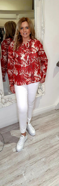 Helena Flower Print Shirt Red Gold & Cream